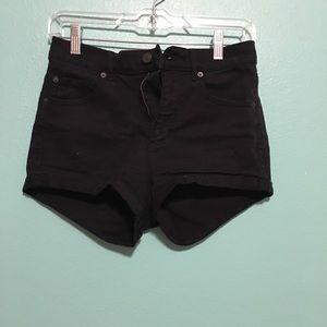 Garage black denim shorts